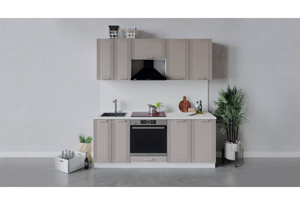 Кухонный гарнитур «Ольга» длиной 200 см со шкафом НБ (Белый/Кремовый) - фото 1