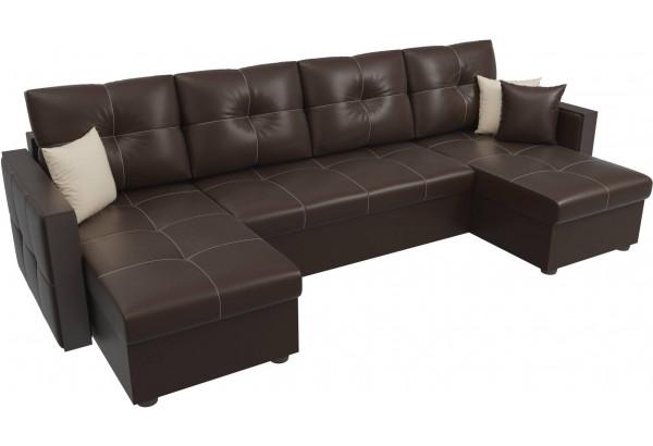 П-образный диван Валенсия Коричневый (Экокожа) - фото 4
