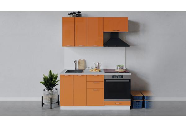 Кухонный гарнитур «Весна» длиной 160 см со шкафом НБ (Белый/Оранж глянец) - фото 1