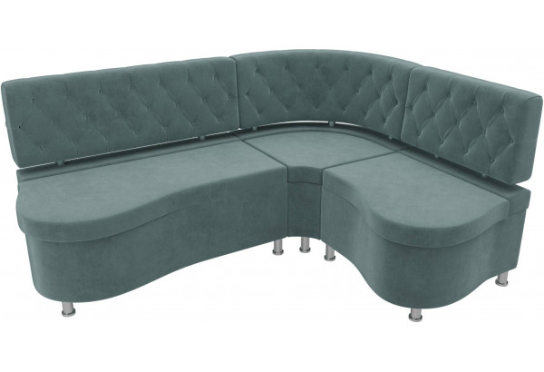 Кухонный угловой диван Вегас бирюзовый (Велюр) - фото 4