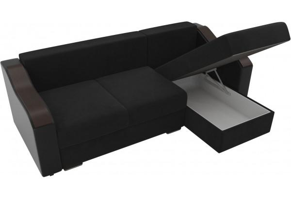 Угловой диван Монако черный/черный (Велюр/Экокожа) - фото 5