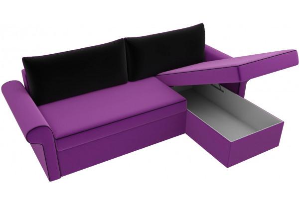 Угловой диван Милфорд Фиолетовый/Черный (Микровельвет) - фото 5