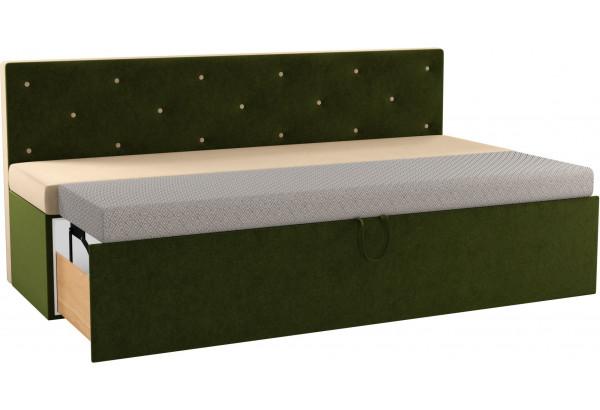 Кухонный прямой диван Салвадор бежевый/зеленый (Микровельвет) - фото 2