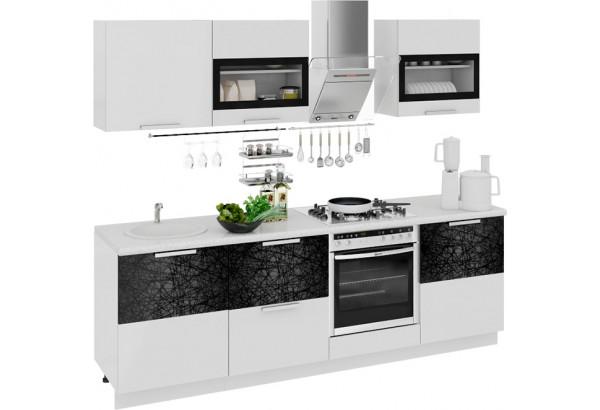 Кухонный гарнитур длиной - 240 см (со шкафом НБ) Фэнтези (Белый универс)/(Лайнс) - фото 1