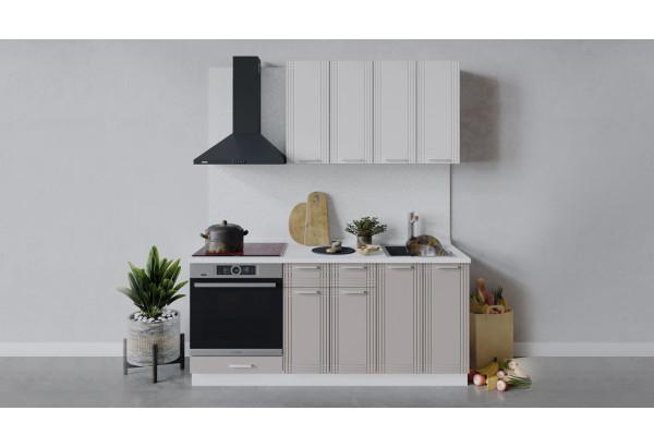 Кухонный гарнитур «Ольга» длиной 180 см со шкафом НБ (Белый/Белый/Кремовый) - фото 1