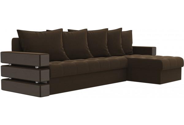 Угловой диван Венеция Коричневый (Микровельвет) - фото 3