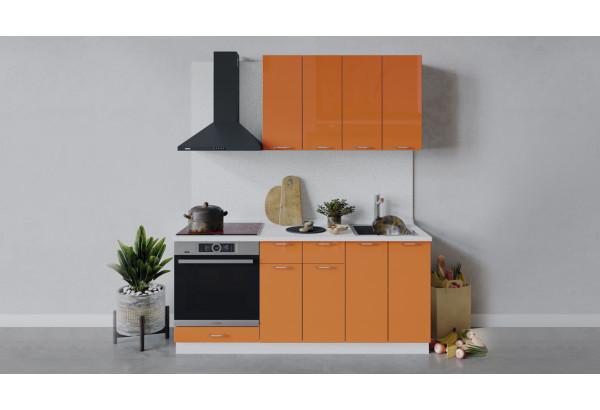 Кухонный гарнитур «Весна» длиной 180 см со шкафом НБ (Белый/Оранж глянец) - фото 1