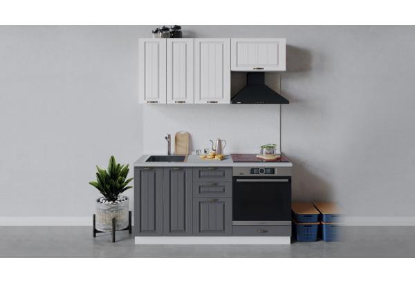 Кухонный гарнитур «Лина» длиной 160 см со шкафом НБ (Белый/Белый/Графит) - фото 1