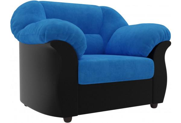 Кресло Карнелла голубой/черный (Велюр/Экокожа) - фото 1