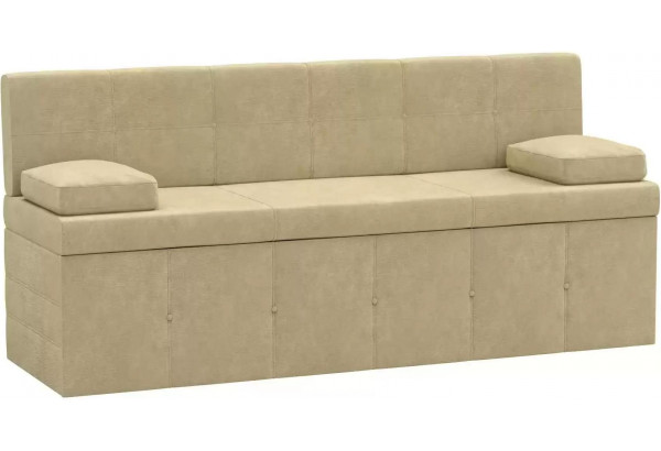 Кухонный прямой диван Лео Бежевый (Микровельвет) - фото 1