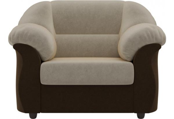 Кресло Карнелла бежевый/коричневый (Микровельвет) - фото 2
