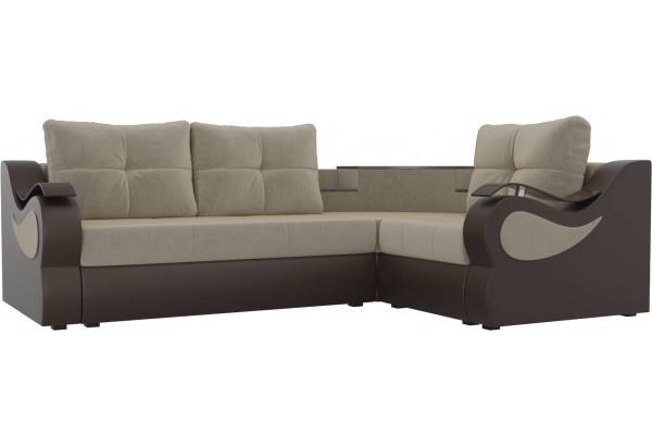 Угловой диван Митчелл бежевый/коричневый (Микровельвет/Экокожа) - фото 1