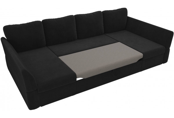 П-образный диван Гесен Черный (Велюр) - фото 6