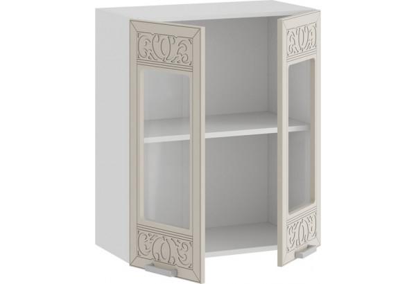 Шкаф навесной c двумя дверями со стеклом «Долорес» (Белый/Крем) - фото 2