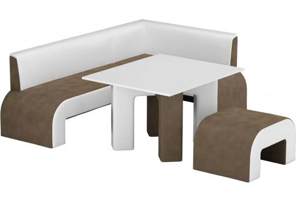 Кухонный уголок Кармен коричневый/белый (Микровельвет) - фото 1