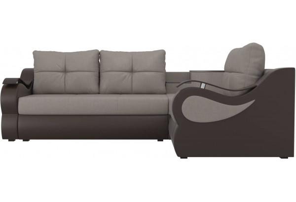 Угловой диван Митчелл бежевый/коричневый (Рогожка/Экокожа) - фото 2