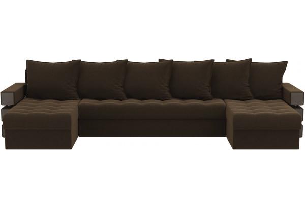 П-образный диван Венеция Коричневый (Микровельвет) - фото 2