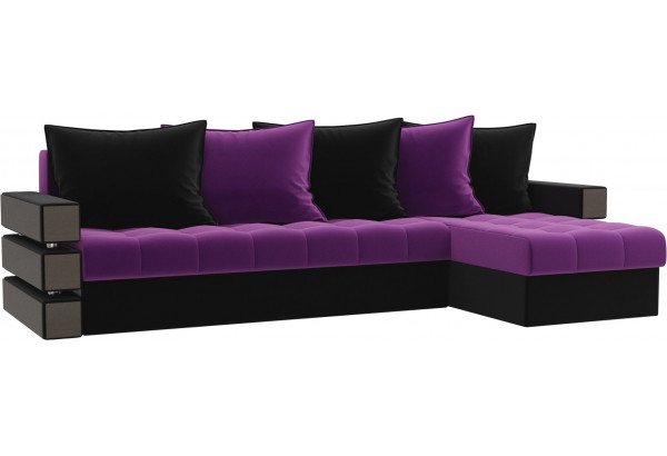 Угловой диван Венеция Фиолетовый/Черный (Микровельвет) - фото 1