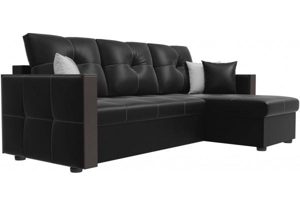 Угловой диван Валенсия Черный (Экокожа) - фото 3