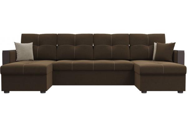П-образный диван Валенсия Коричневый (Микровельвет) - фото 2