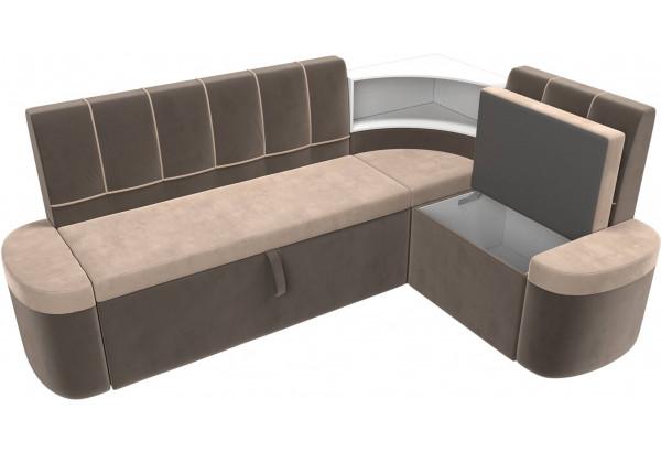 Кухонный угловой диван Тефида бежевый/коричневый (Велюр) - фото 6