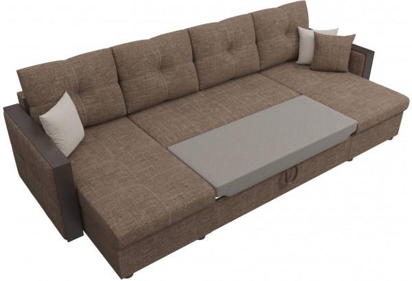 П-образный диван Валенсия Коричневый (Рогожка) - фото 6