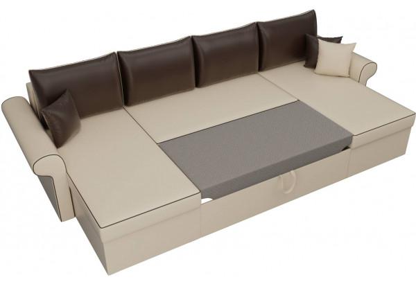 П-образный диван Милфорд бежевый/коричневый (Экокожа) - фото 6