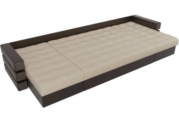 П-образный диван Венеция бежевый/коричневый (Экокожа) - фото 7