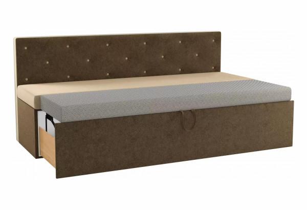 Кухонный прямой диван Салвадор бежевый/коричневый (Микровельвет) - фото 2