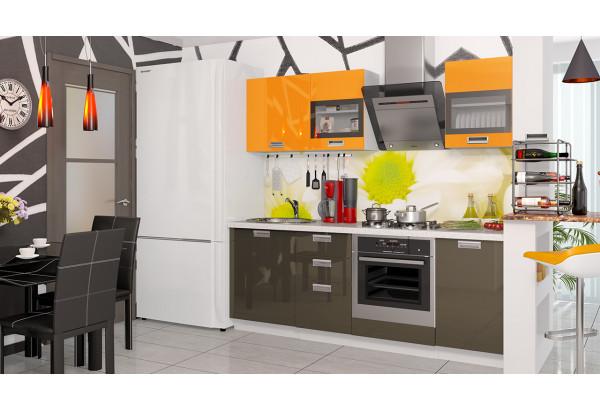 Кухонный гарнитур длиной - 210 см (со шкафом НБ) БЬЮТИ (Оранж)/(Грэй) - фото 2