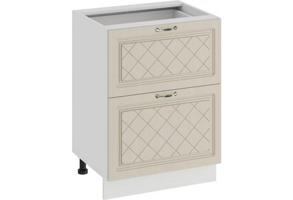 Шкаф напольный с двумя ящиками «Бьянка» (Белый/Дуб ваниль) - фото 1