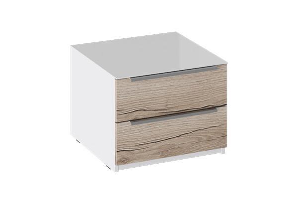 Тумба прикроватная с 2 ящиками «Синди» (Белый глянец/Дуб Делано) - фото 1