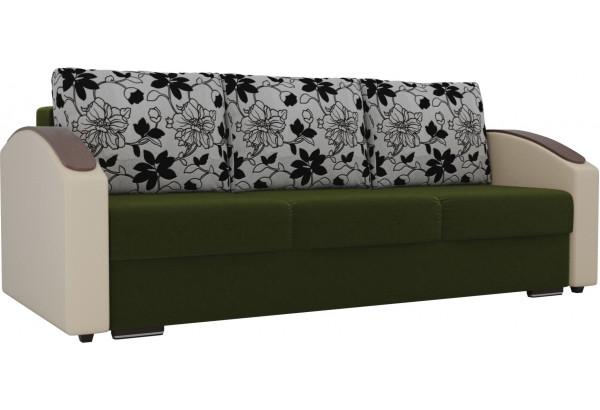 Прямой диван Монако slide Зеленый/Бежевый (Микровельвет/Экокожа/флок на рогожке) - фото 1