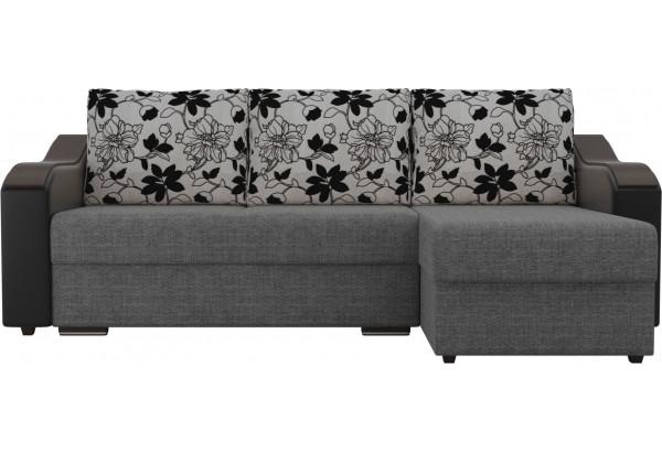 Угловой диван Монако Серый/Черный/Цветы (Рогожка/Экокожа) - фото 2