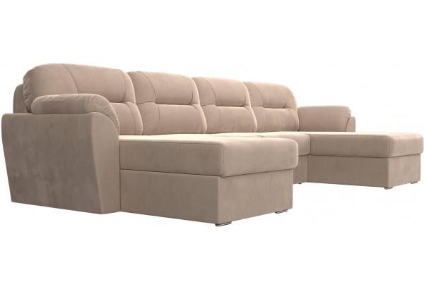 П-образный диван Бостон Бежевый (Велюр) - фото 3