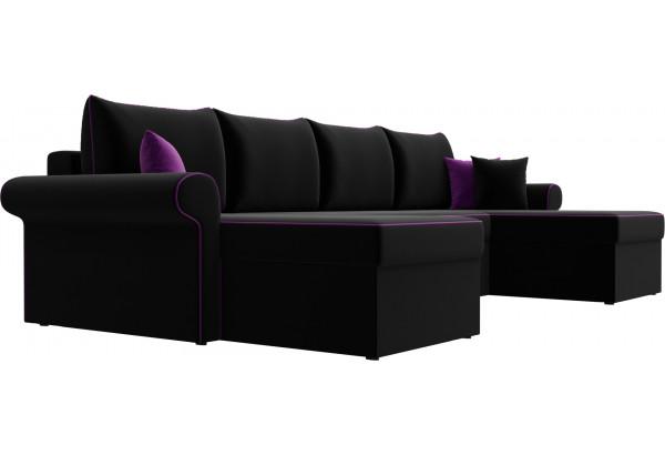 П-образный диван Милфорд Черный (Микровельвет) - фото 3