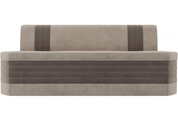 Кухонный прямой диван Токио бежевый/коричневый (Велюр) - фото 2