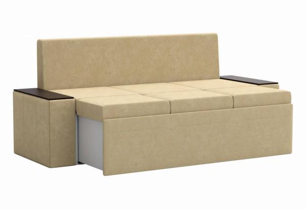 Кухонный прямой диван Лина Бежевый (Микровельвет) - фото 3