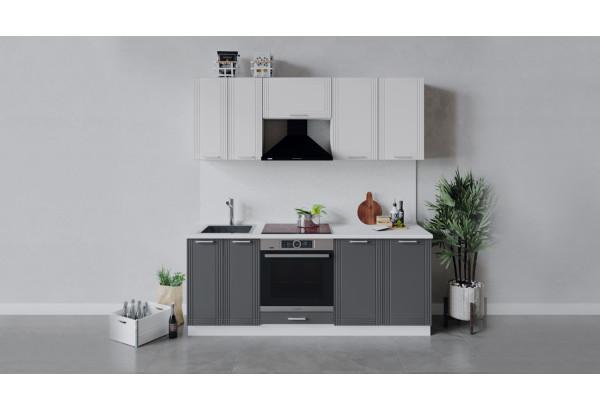 Кухонный гарнитур «Ольга» длиной 200 см со шкафом НБ (Белый/Белый/Графит) - фото 1