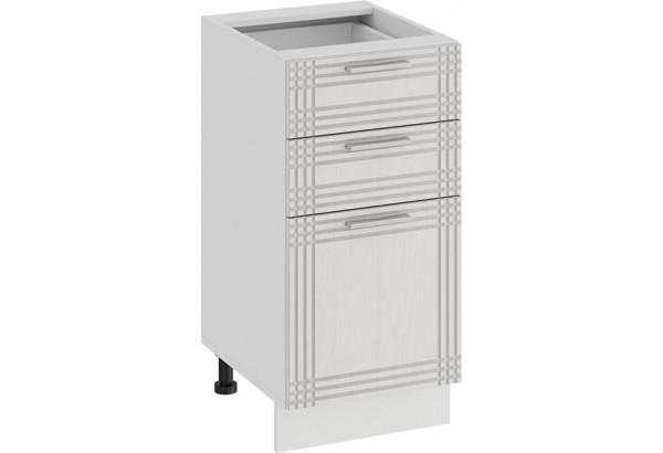 Шкаф напольный с тремя ящиками «Ольга» (Белый/Белый) - фото 1