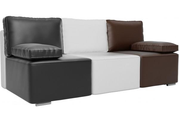 Диван прямой Радуга Черный/белый/коричневый (Экокожа) - фото 1