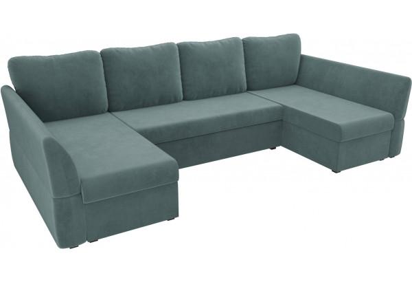 П-образный диван Гесен бирюзовый (Велюр) - фото 4