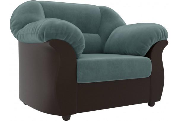 Кресло Карнелла Бирюзовый/Коричневый (Велюр/Экокожа) - фото 1