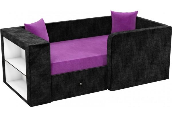 Детский диван Орнелла Фиолетовый/Черный (Микровельвет) - фото 1