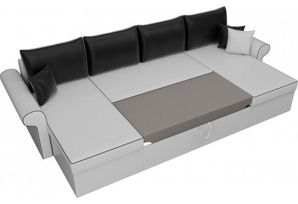 П-образный диван Милфорд Белый/Черный (Экокожа) - фото 6