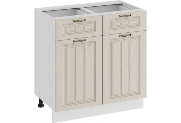 Шкаф напольный с двумя ящиками и двумя дверями «Лина» (Белый/Крем) - фото 1