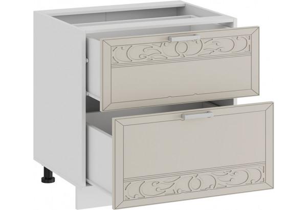 Шкаф напольный с двумя ящиками «Долорес» (Белый/Крем) - фото 2