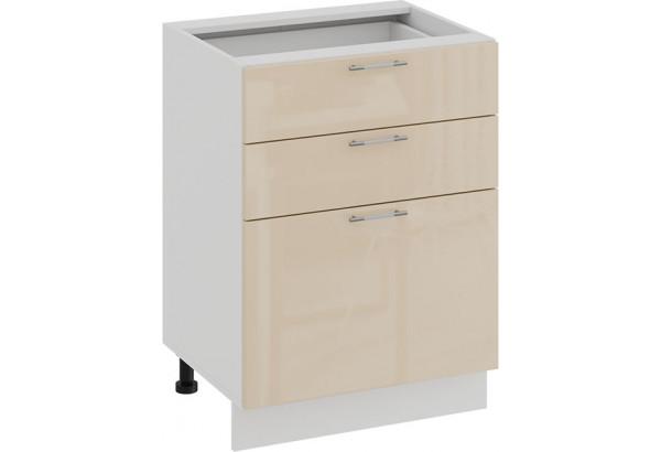 Шкаф напольный с тремя ящиками «Весна» (Белый/Ваниль глянец) - фото 1