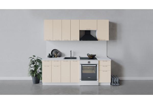 Кухонный гарнитур «Весна» длиной 220 см (Белый/Ваниль глянец) - фото 1