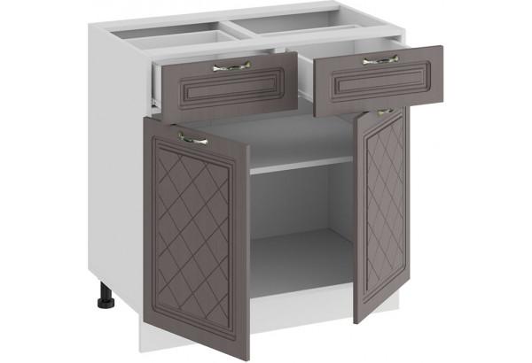 Шкаф напольный с двумя ящиками и двумя дверями «Бьянка» (Белый/Дуб серый) - фото 2